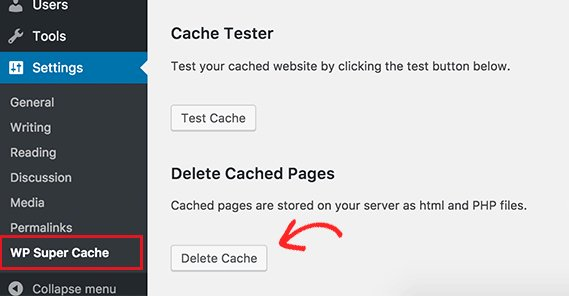 Deleting Cache in WordPress
