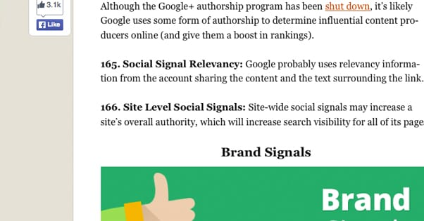 Social Signals Mentioned in Backlinkos Post
