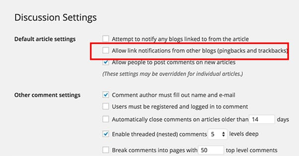 Discussion Settings Trackbacks WordPress