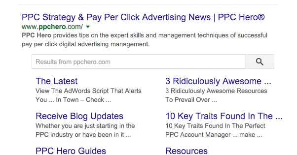 PPC Hero Search Results