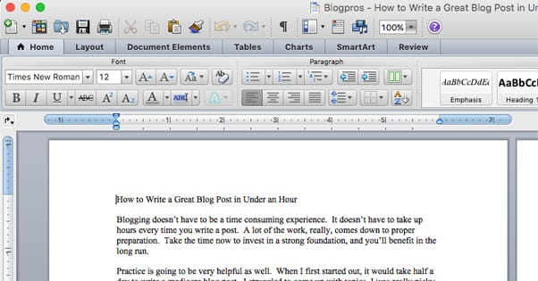 Writing Microsoft Word