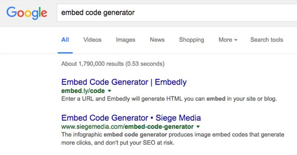 Embed Code Generator Google Search