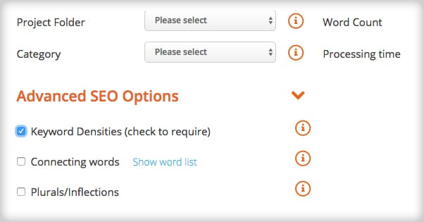 Keyword Density Options