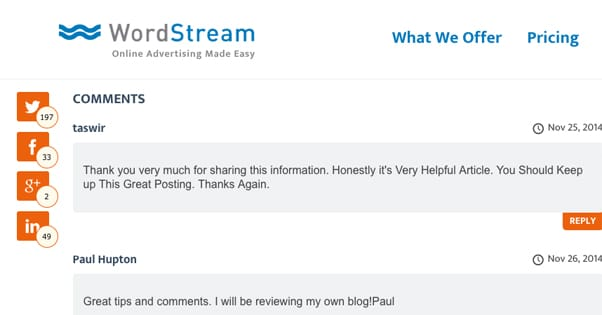 Responding to Blog Comments