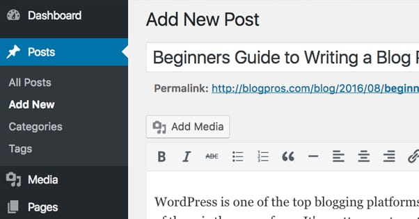 Beginners Guide To Writing A Blog Post In Wordpress