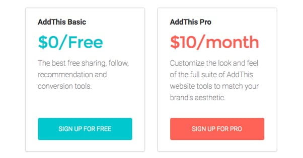 AddThis Plans and Pricing