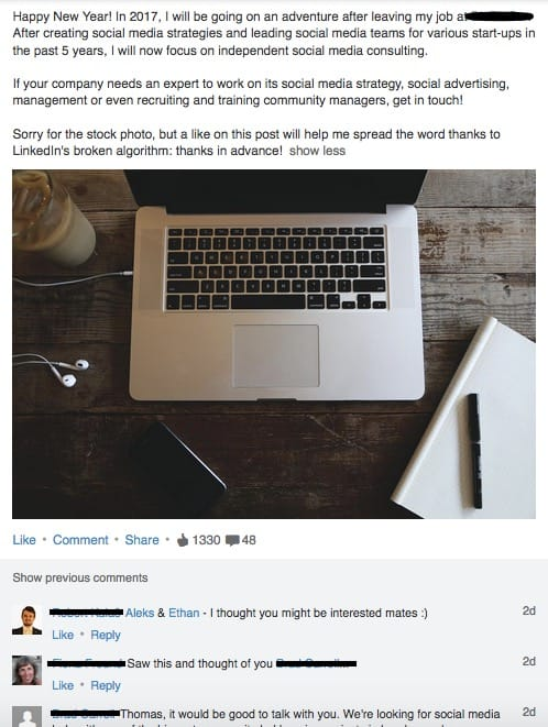 Example LinkedIn Post