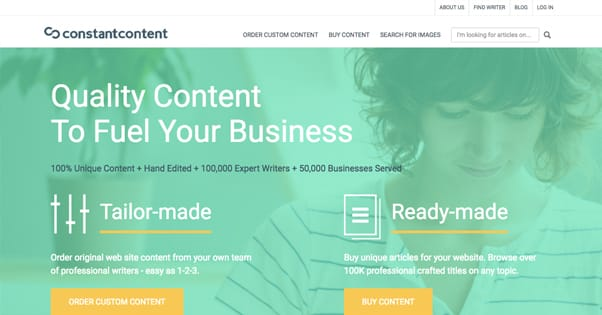Constant Content Homepage
