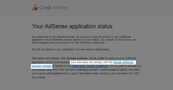 Website Doesnt Comply With Google Guidelines