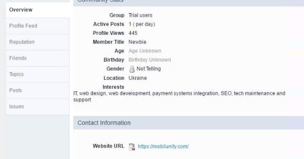 Forum Profile Backlink Example