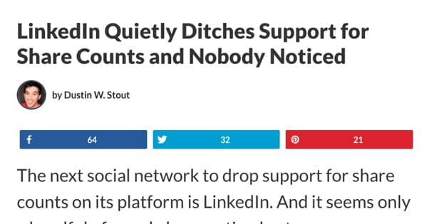 LinkedIn Removes Share Counts