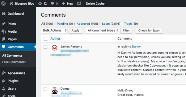 Example Comments Section in WordPress