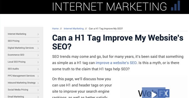 H1 Increasing SEO