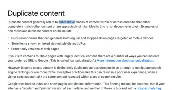 Googles Duplicate Content Description